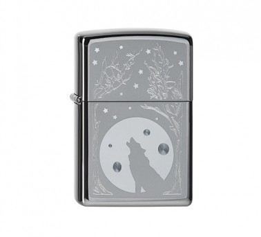 Wolf and Moon Zippo